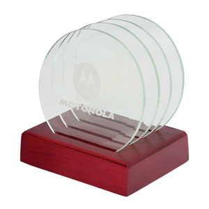GLASS COASTER SET (4)